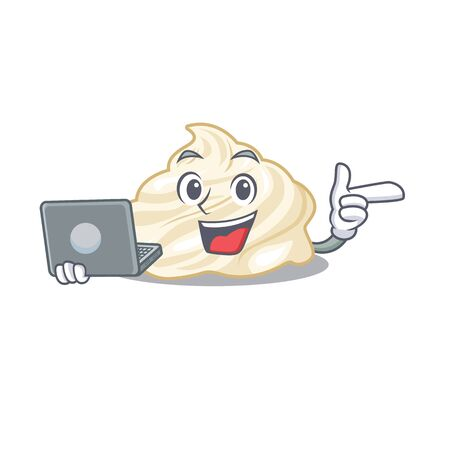 Cool character of whipped cream working with laptop Illustration