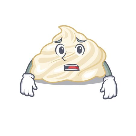 A picture of whipped cream having an afraid face