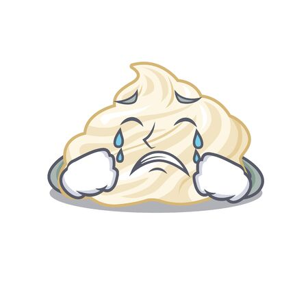 Whipped cream cartoon character concept with a sad face Illustration