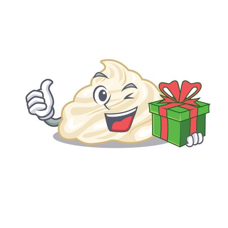 Happy whipped cream character having a gift box
