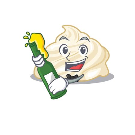 mascot cartoon design of whipped cream with bottle of beer. Vector illustration Illustration