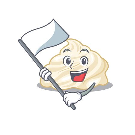 Funny whipped cream cartoon character style holding a standing flag 矢量图像