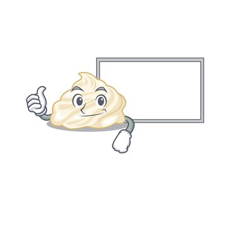 Thumbs up of whipped cream cartoon design having a board. Vector illustration