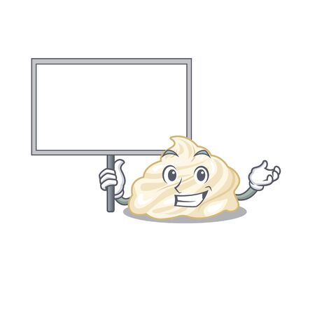 A cute picture of whipped cream mascot design with a board