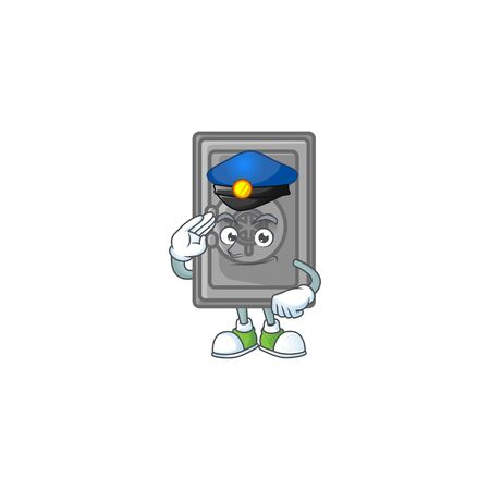 A character design of security box closed working as a Police officer. Vector illustration