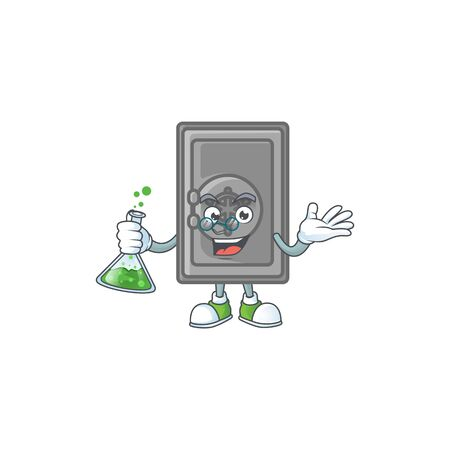 A genius Professor security box closed cartoon character with glass tube. Vector illustration