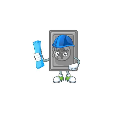 Elegant Architect security box closed having blue prints and blue helmet. Vector illustration