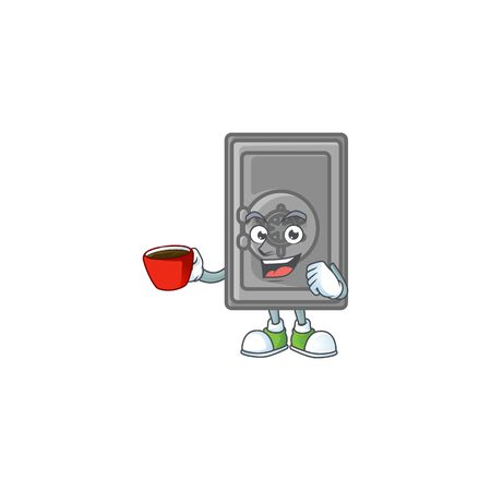 Cool security box closed cartoon character with a cup of coffee. Vector illustration Stock Illustratie