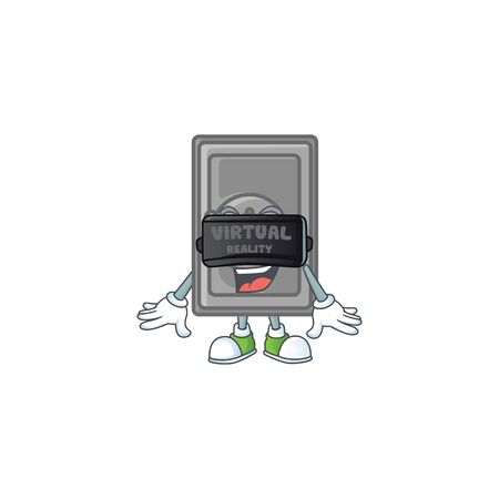 A smart character of security box closed with Virtual reality headset. Vector illustration