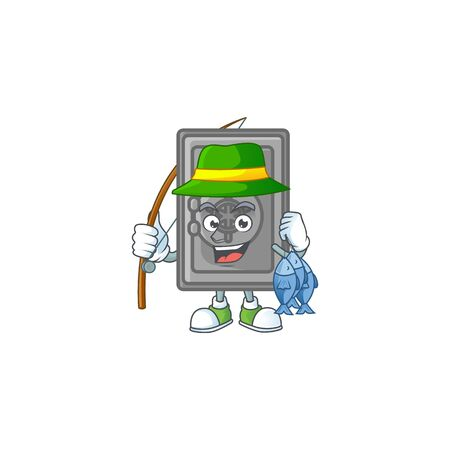 A mascot design of Fishing security box closed with 3 fishes. Vector illustration