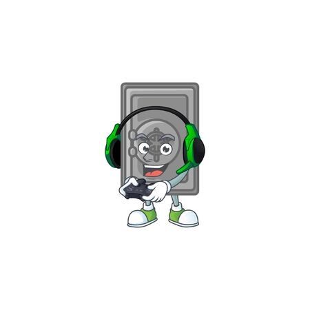 Security box closed cartoon picture play a game with headphone and controller. Vector illustration