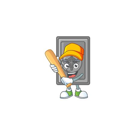 An active healthy security box closed mascot design style playing baseball. Vector illustration