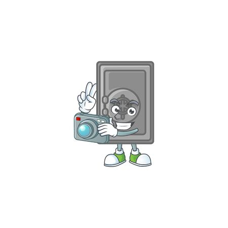 A security box closed Photographer cartoon character in action with a camera. Vector illustration