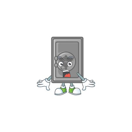 cartoon character design of security box closed with a surprised gesture. Vector illustration Vektoros illusztráció