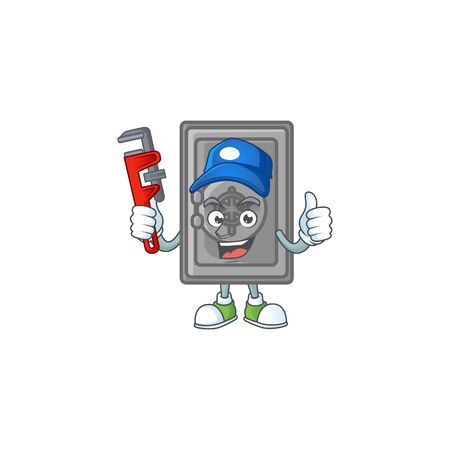 Smiley Plumber security box closed on mascot picture style. Vector illustration
