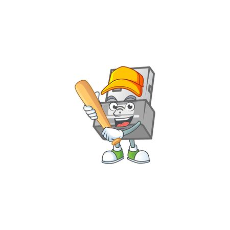 An active healthy USB wireless adapter mascot design style playing baseball. Vector illustration Ilustracja