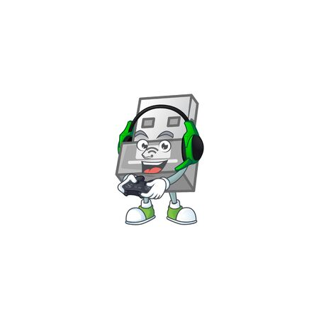 USB wireless adapter cartoon picture play a game with headphone and controller. Vector illustration