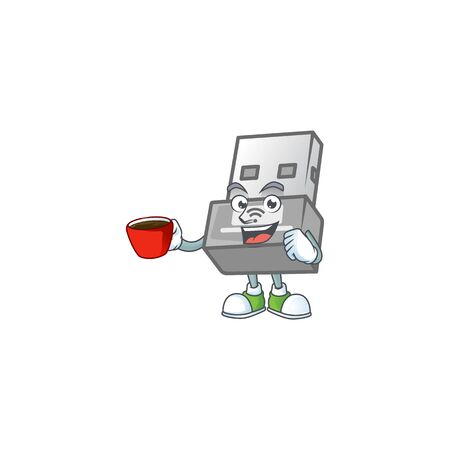 Cool USB wireless adapter cartoon character with a cup of coffee. Vector illustration