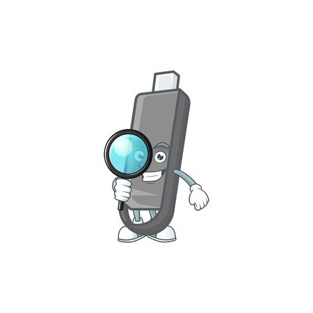 A famous of one eye flashdisk Detective cartoon character design . Vector illustration