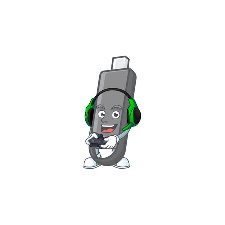 Flashdisk cartoon picture play a game with headphone and controller. Vector illustration Ilustração