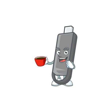 Cool flashdisk cartoon character with a cup of coffee. Vector illustration