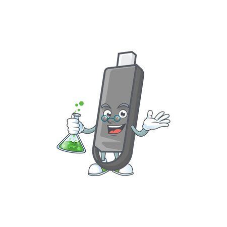 A genius Professor flashdisk cartoon character with glass tube. Vector illustration Stock Illustratie