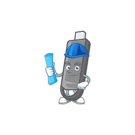 Elegant Architect flashdisk having blue prints and blue helmet. Vector illustration