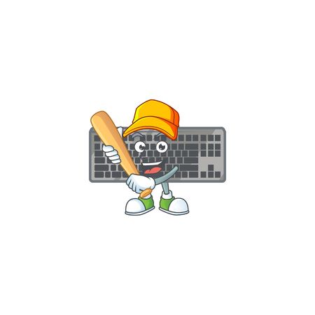 An active healthy black keyboard mascot design style playing baseball. Vector illustration Ilustracja
