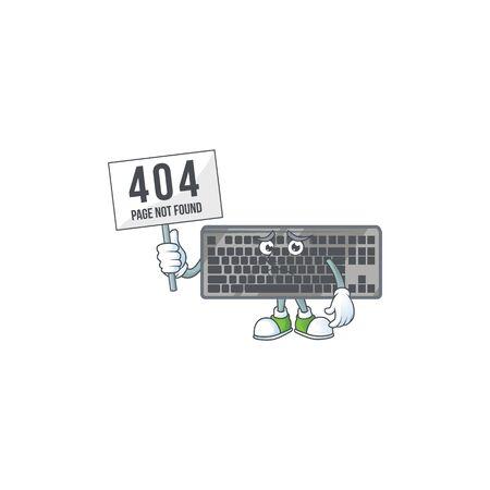 cheerless face black keyboard mascot style design raised up a board Ilustração