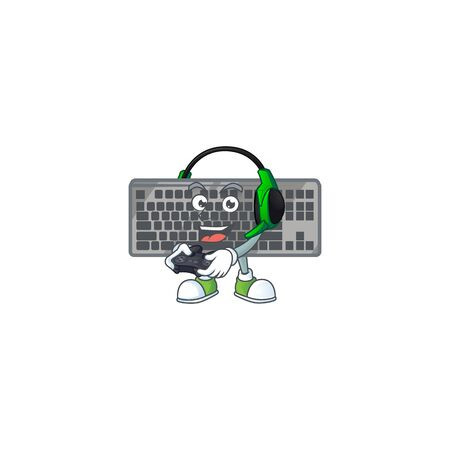 Black keyboard cartoon picture play a game with headphone and controller. Vector illustration Ilustração