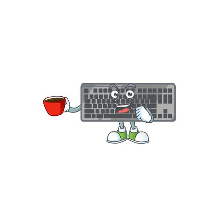 Cool black keyboard cartoon character with a cup of coffee. Vector illustration