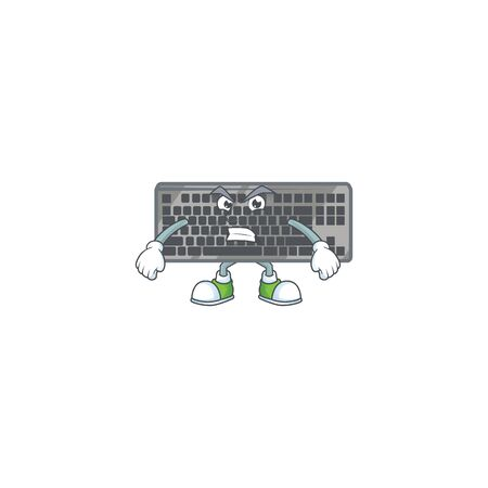 cartoon character of black keyboard with angry face. Vector illustration
