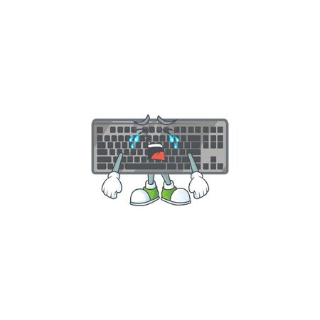 A crying black keyboard mascot design style. Vector illustration 向量圖像