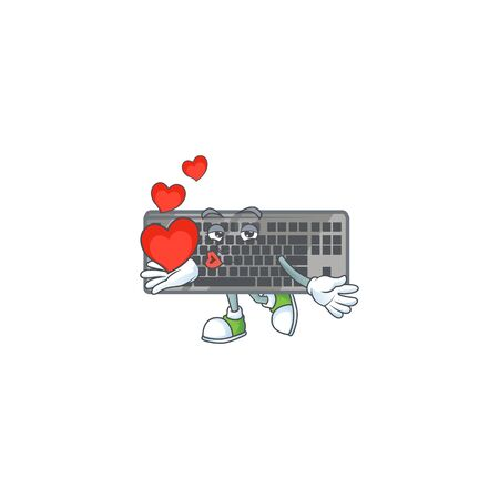 A sweetie black keyboard cartoon character holding a heart. Vector illustration
