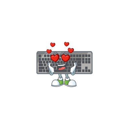 A romantic black keyboard cartoon mascot design style. Vector illustration Ilustrace