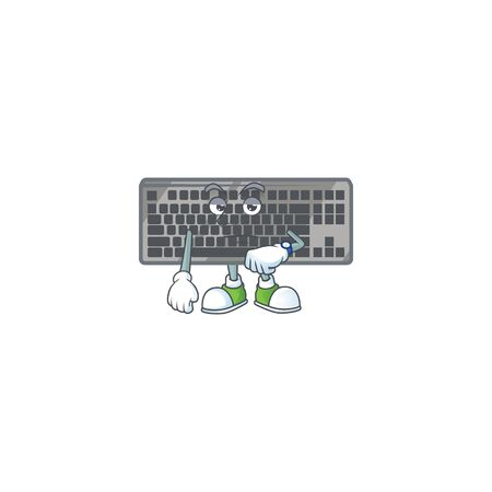 A picture of black keyboard on a waiting gesture. Vector illustration