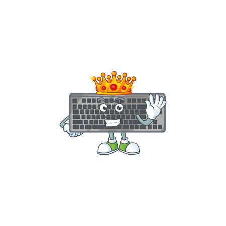 A dazzling of black keyboard stylized of King on cartoon mascot design
