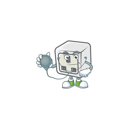USB power socket mascot icon design as a Doctor working costume with tools Stock Illustratie