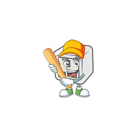 An active healthy USB power socket mascot design style playing baseball