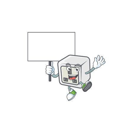 A picture of USB power socket cartoon character with board