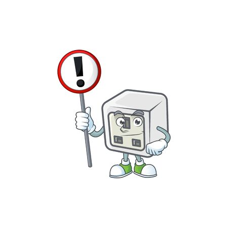 Cartoon character design of USB power socket rise up a broad