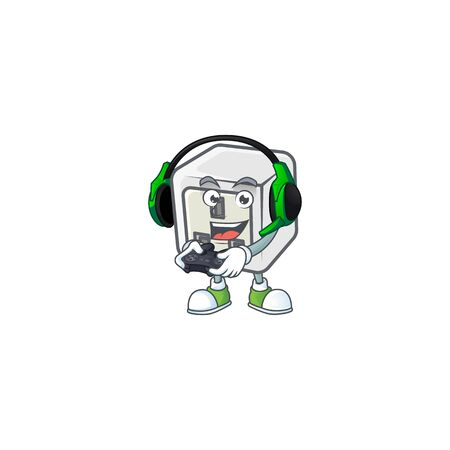 USB power socket cartoon picture play a game with headphone and controller