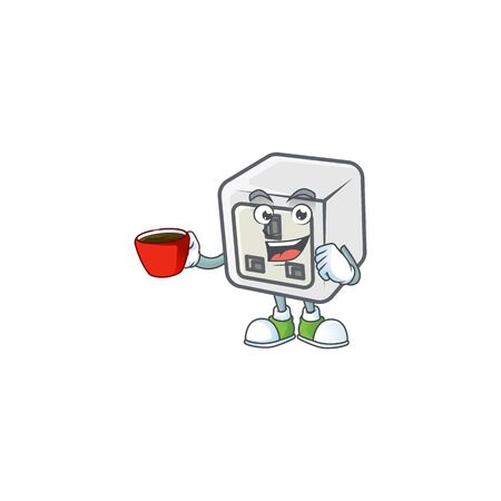 Cool USB power socket cartoon character with a cup of coffee