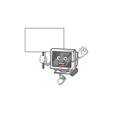 A picture of vintage monitor cartoon character with board. Vector illustration