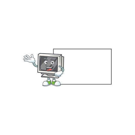Cheerful vintage monitor mascot style design with whiteboard. Vector illustration