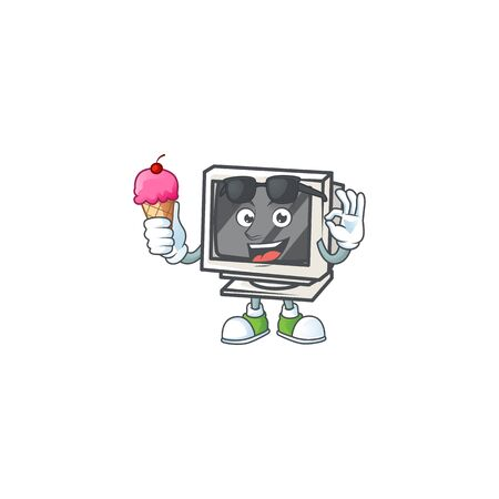 Vintage monitor mascot cartoon style eating an ice cream 向量圖像