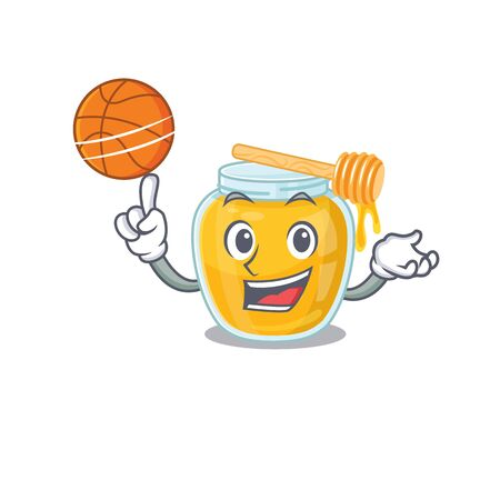 A mascot picture of honey cartoon character playing basketball. Vector illustration