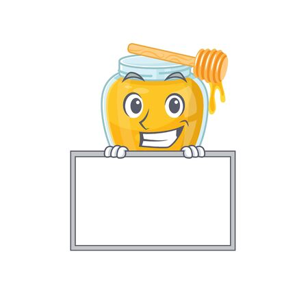 Honey cartoon design concept grinning with board