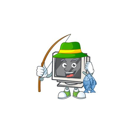 A mascot design of Fishing vintage monitor with 3 fishes
