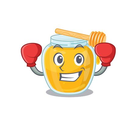 mascot character style of Sporty Boxing honey. Vector illustration Ilustração